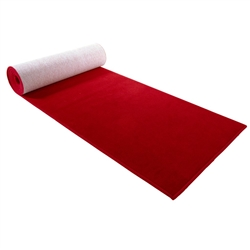 3x12 low pile red carpet with rubber backing for event photo areas.