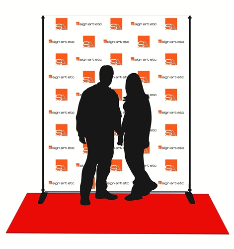 8x6 Fabric Photo Op Backdrop With Stand And Red Carpet