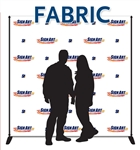 8x8 event backdrops made of durable, matte-finish polyester, includes stand and case.