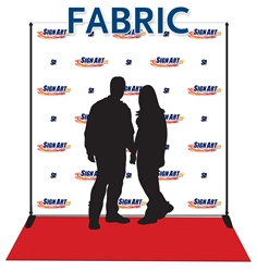 Red carpet banner made from low-glare fabric with display stand, carrying case and red carpet.