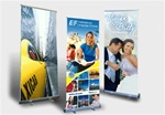 Retractable banner displays for trade shows, retail displays, press conferences and other events.