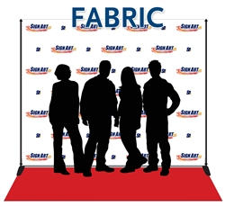 8x10 seamless fabric backdrops made from matte polyester. Includes aluminum stand and 3x10 red carpet.