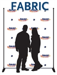 8x6 event photo backdrop made of wrinkle-resistant polyester, includes display stand and carrying case.