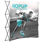 Curved hopup display with full color graphics on stretch fabric and lightweight aluminum stand.