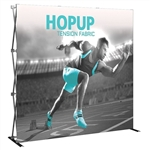 "Hopup fabric display, 7' 6"" x 7' 6"" with full color printing on durable stretch fabric."