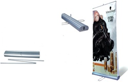 "Double-sided roll up banners, 33""x78"" made from anti-curl poly material with aluminum display stand."