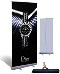 "Pull up banner with 47""w x 78""h full color graphic on anti-curl, poly material, stand and nylon carrying case."