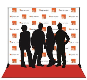 Backdrop with digital print on wrinkle-free, low-glare vinyl. Includes stand and red carpet.