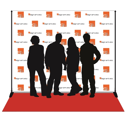 Red carpet backdrops with digital print on wrinkle-free, low-glare vinyl. Includes stand and red carpet.