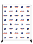 8x6 vinyl backdrop with aluminum stand for events with step and repeat areas.