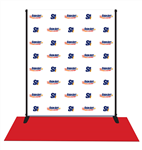 Red carpet background made of low-glare vinyl with aluminum stand and 3x8 red carpet included.