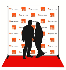 Red carpet backdrop with stand and carpet included. Digitally printed in full color on matte-finish vinyl.